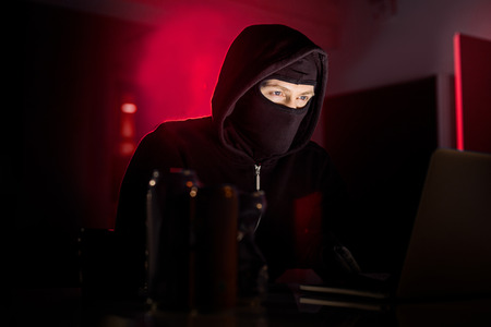 Portrait of serene hacker noting in notebook computer while sitting at table in room. Burglary concept