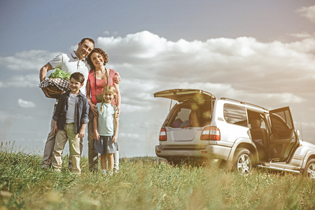 We are ready for picnic. Joyful parents and children are standing on grass and smiling. Their car is on background Stockfoto