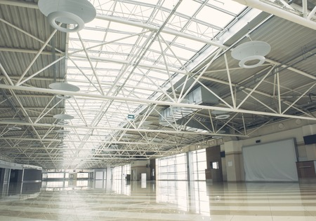Huge bright empty warehouse is commercial building for renting premarketing Stockfoto