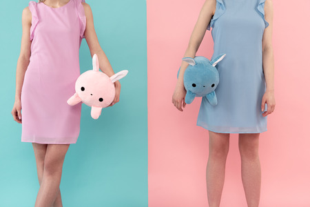 Female people standing in summer clothing with plush toys. Isolated on blue and pink background