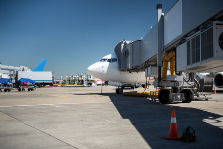Waiting for the takeoff. Side view of commercial jet loading up luggage. Airport, blue sky, truck and trolleys on background