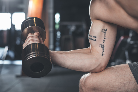 Close up of male biceps with heavy weight. Topless tattooed bodybuilder is exercising with equipment while sitting. He is doing concentration curls while putting elbow on leg Reklamní fotografie