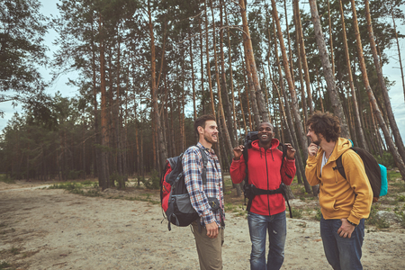 Into the woods. Portrait of positive men having track through pine forest