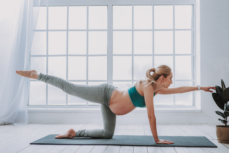 Finding equilibrium. Side view of young expectant woman working out at home while keeping balance with her arm and leg on sport mat