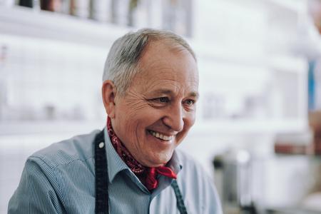 Good-looking elegant gentleman in shirt expressing positive emotions Stok Fotoğraf
