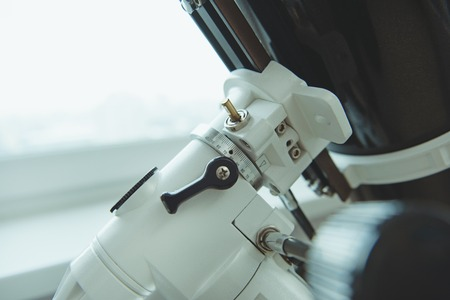 Close up of modern microscope in laboratory