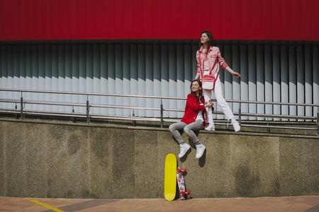 Female friends enjoying time together on walking