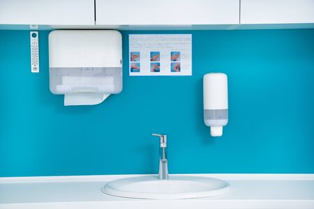 Front view of the sink in blue and white interior