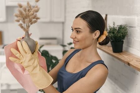 Smiling female dusting interior objects stock photo