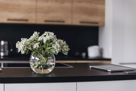 Flower detail in modern interior stock photo