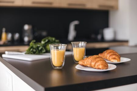 Delicious breakfast on the kitchen table stock photo