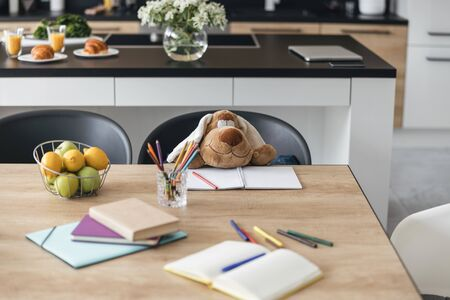 Even toys do school homework stock photo