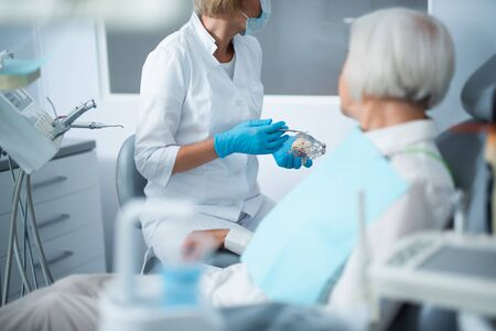 Adult woman at the dentist for a checkup