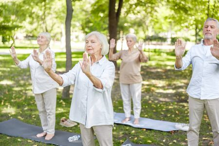 Senior people practicing qigong in the park