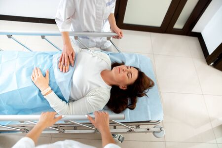 Woman sleeping after medical procedure stock photo Stock Photo