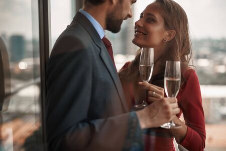 Young man and woman having romantic date