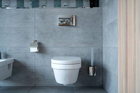 Large toilet room with modern plumbing fixture