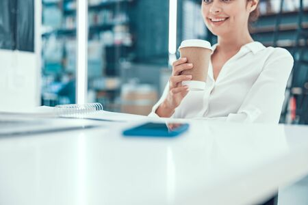 Deserving to have rest and drink coffee stock photo