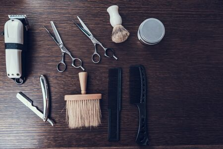 Close up  of few tools for hair cutting