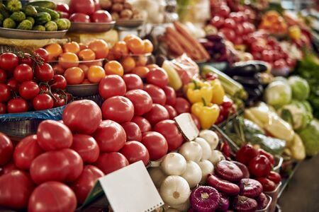 Close up of delicious vegetables at the display counter at the market