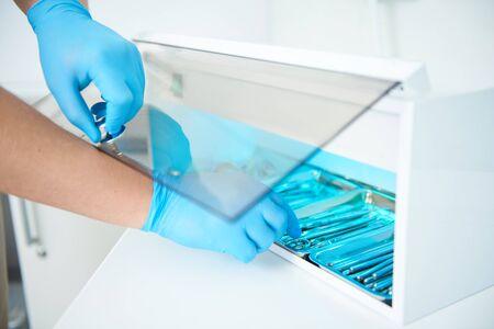 Dental instrument sterilization process in dental clinic