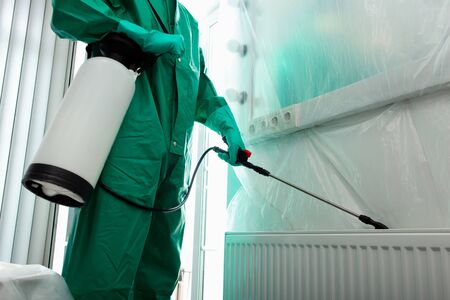 Cropped photo of a specialist in protective suit spraying chemicals behind the radiator in the room Banque d'images