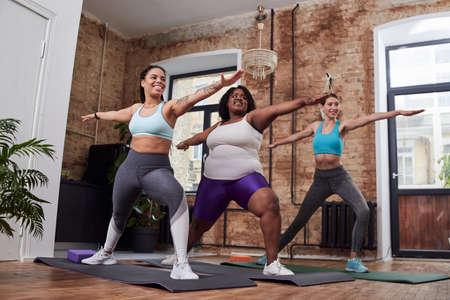 Adorable women exercising at home with pleasure Reklamní fotografie