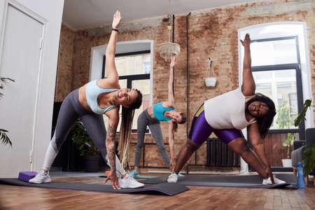 Joyful ladies improving physical health on exercise mat
