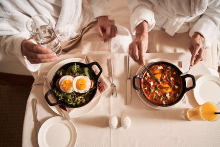 Healthy meal for two travelers in hotel