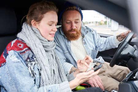 Couple using navigator system