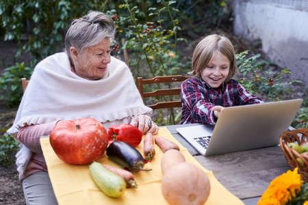 Grandson showing something at the laptop Stockfoto