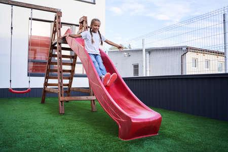 Children riding from the slide