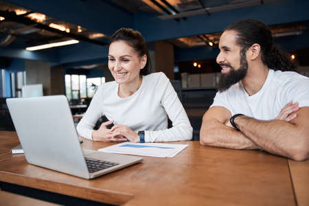 People working together at meeting in office Stock Photo