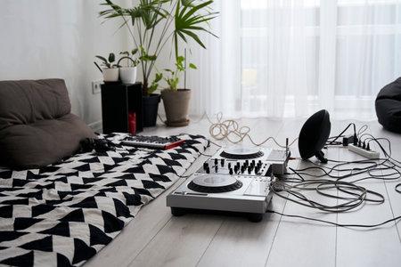 Modern flat of dj musician
