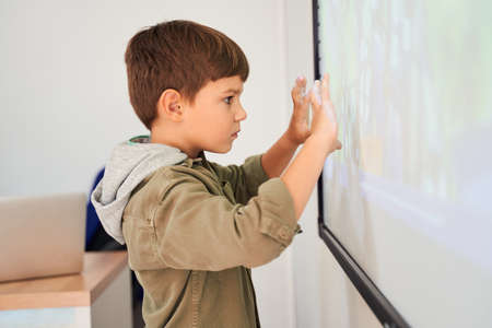 Serious caucasian boy looking attentively at the whiteboard
