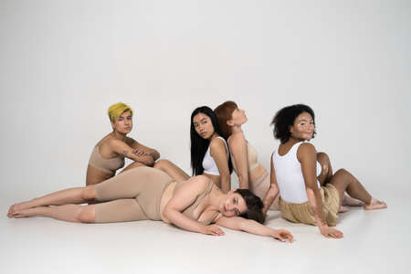 Diverse girls with different types of shape, skin color and ethnicity