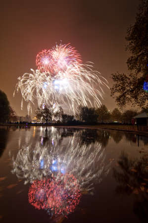 Fireworks show at a park Stock Photo