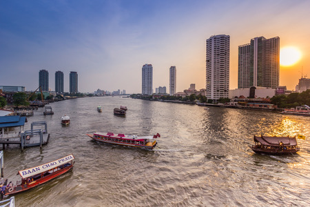 chao phraya river: Traffic Over Chao Phraya River Bangkok