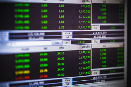 stock ticker board: display of stock market monitor Stock Photo