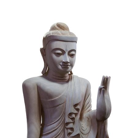 dramatic: dramatic lighting wood buddha on white background isolated