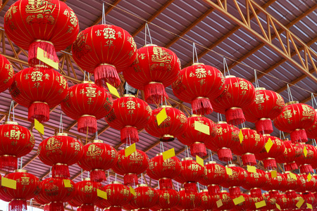 tradition: tradition Chinese new year red lanterns