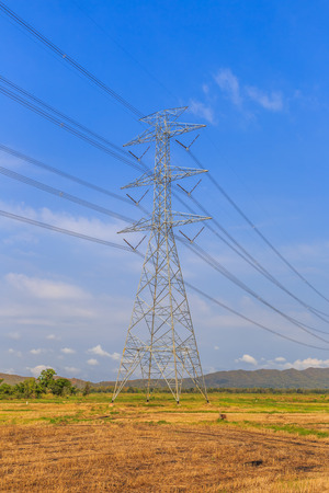megawatts: high voltage post or high voltage towers and power lines with blue sky