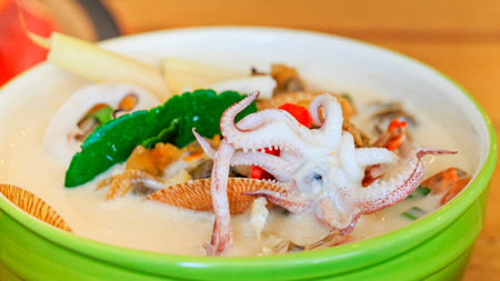 coconut spicy seafood soup thai food call Tom Kha Ta-lay Stock Photo