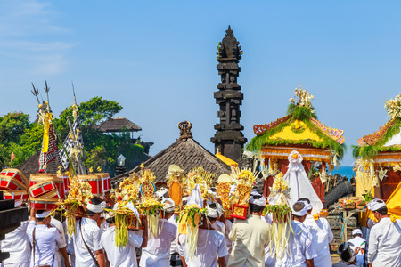 UBUD, BALI, INDONESIA - MARCH 28 :Melasti Ritual is performed before Nyepi - a Balinese Day of Silence on March 28, 2014 in Ubud, Bali, Indonesia. Editorial