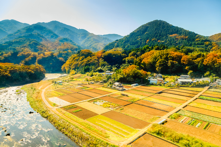 aerial view of river and farm in countryside, Kawaguchigo, Japan. Stock Photo