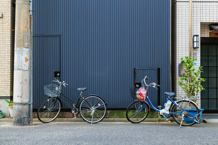 bicycles with metal wall background