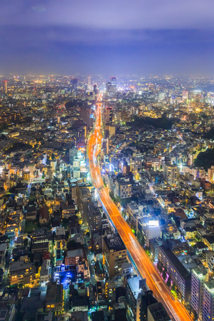Tokyo, Japan cityscape aerial cityscape view at night.