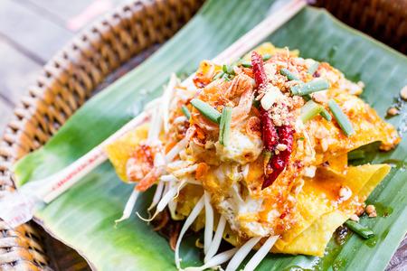 green bean: Stir noodles (Pad Thai) is popular food in Thailand.