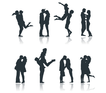 Silhouettes of romantic couples loving kissing flirting boyfriend girlfriend Ilustração