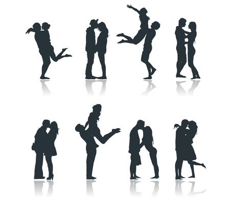 Silhouettes of romantic couples loving kissing flirting boyfriend girlfriend Vectores